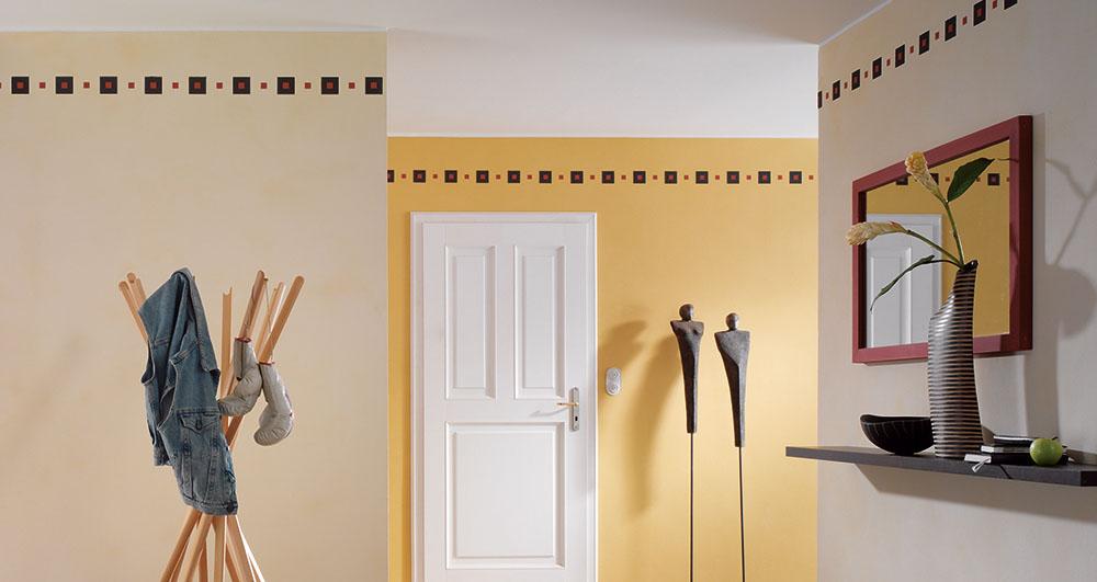 Startseite von Malerbetrieb Schiffert gelb gemusterte Wand